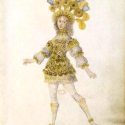 1. Dessin de costume du roi, Les Noces de Pélée et de Thétis. Bibliothèque de l'Institut.